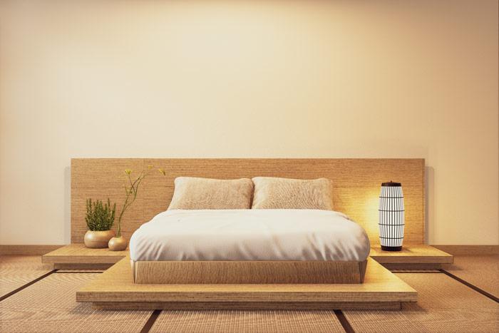 Harmonijna aranżacja sypialni wstylu japońskim